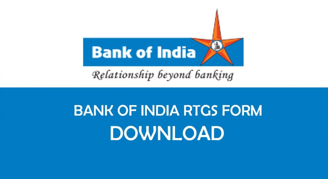 Bank of India RTGS Form