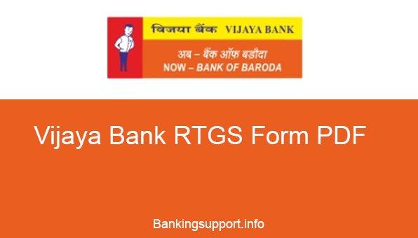 Vijaya Bank RTGS Form