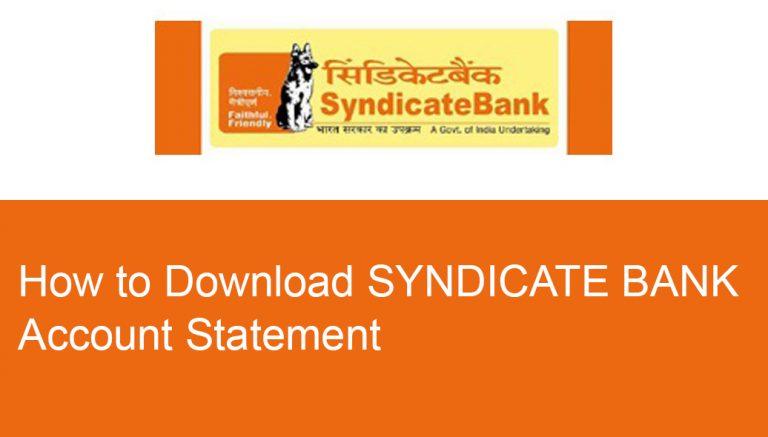 Syndicate bank statement