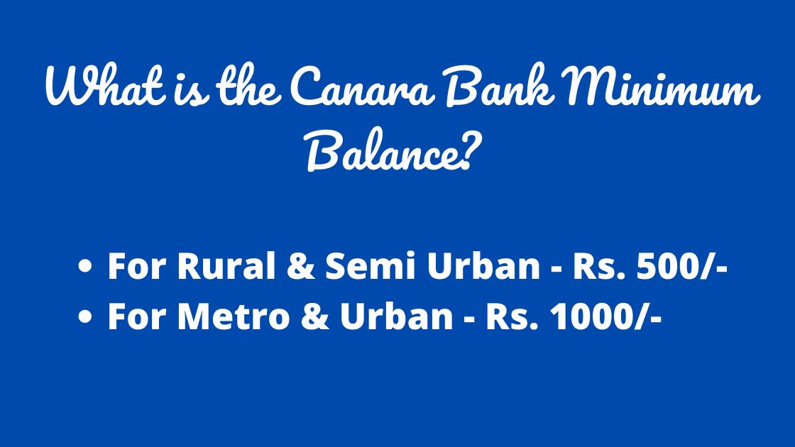 Canara Bank Minimum Balance