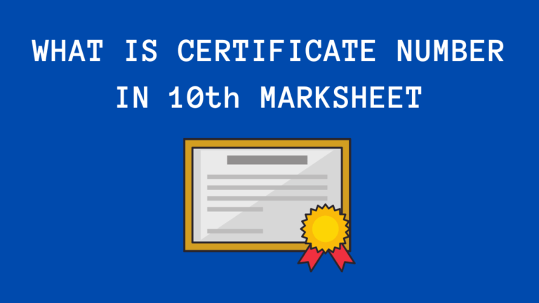 Certificate Number in 10th Marksheet