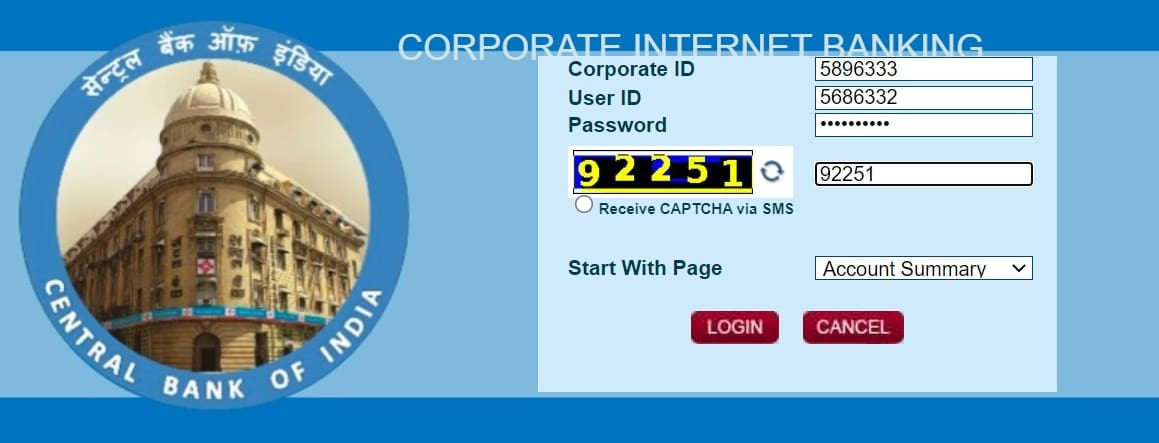 Central bank of India corporate Login
