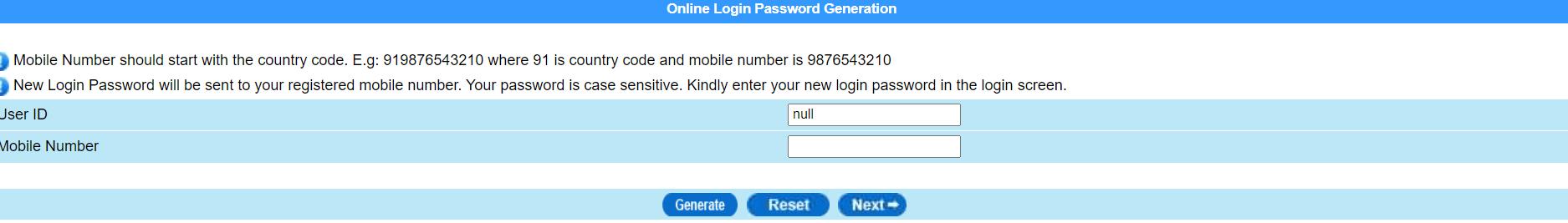 How to Generate CBI Login password online
